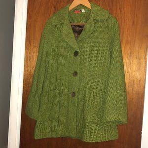Lux green herringbone Vintage long flare jacket